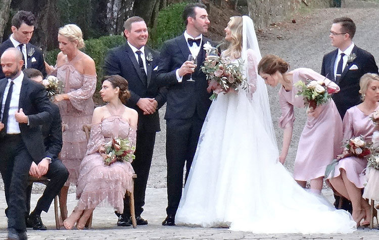 54b37fd91a498 White Lace Bridal Gown and Blush Bridesmaid Dresses on Kate Upton Wedding