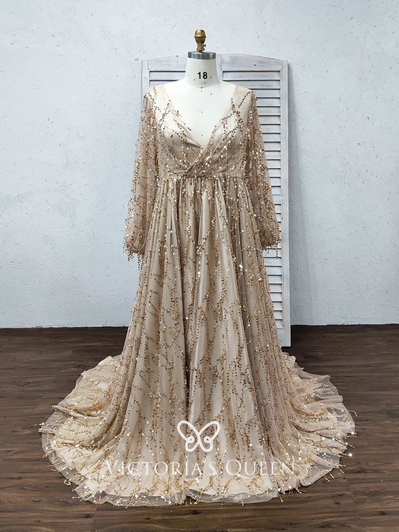 VQ Unusual Gold Sequin with Flouced Hemline Prom Dress