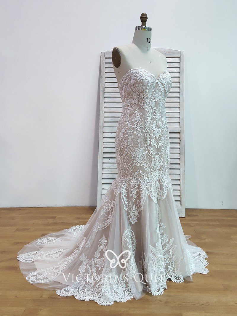 Nude Lining Lace & Satin Mermaid Unique Wedding Dress - VQ