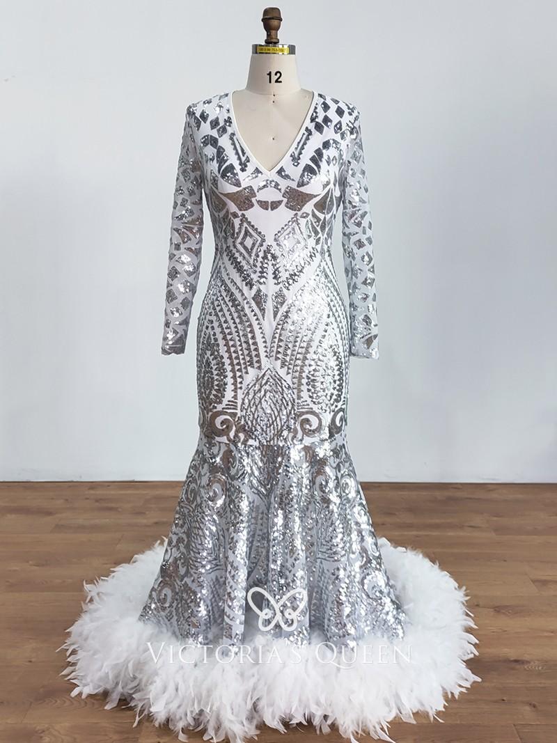 VQ Fantastic Striped White Sequin Long Sleeve Mermaid Dress