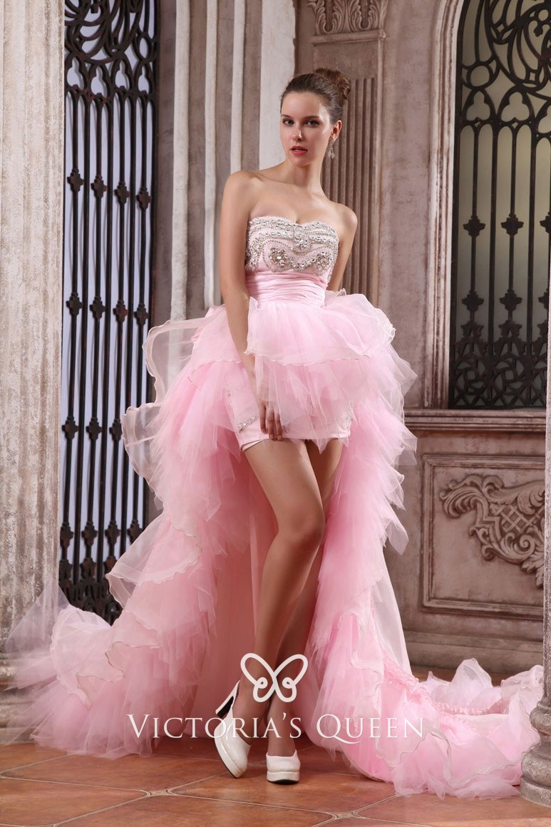 239dd0e6326e Unique Ruffled Pink Tulle Beaded High-low Prom Gown with Long Train ...