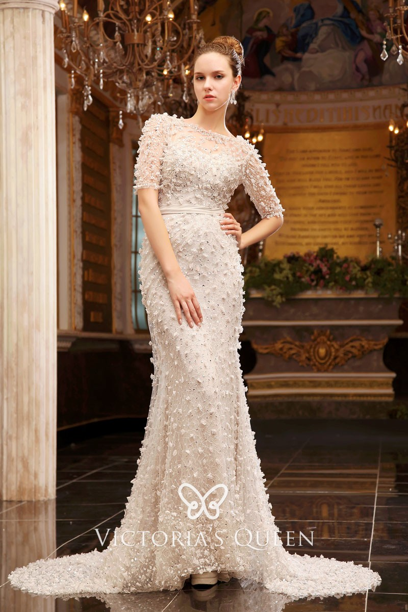 Floral Beaded Off White Tulle Illusion Formal Gown Vq