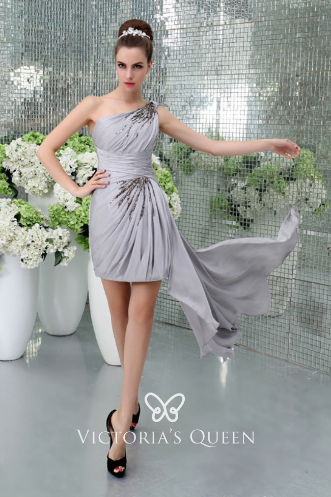 Beaded One Shoulder Gray Chiffon Bodycon Short Dress Vq