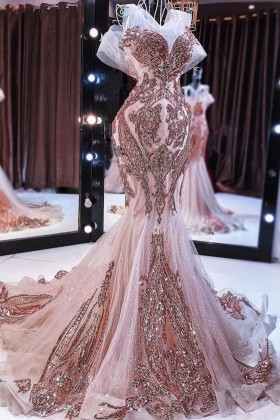 Striped Rose Gold Sequin Open Back Mermaid Long African