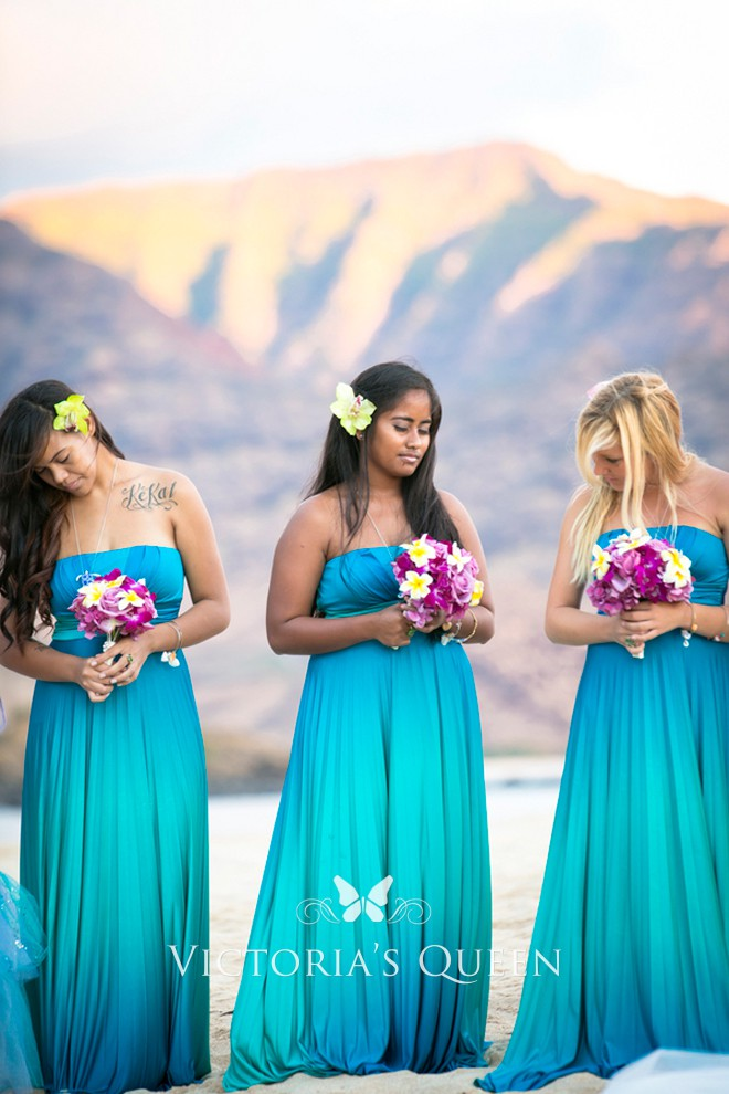 Ocean Blue Ombre Jersey Beach Long Bridesmaid Dresses