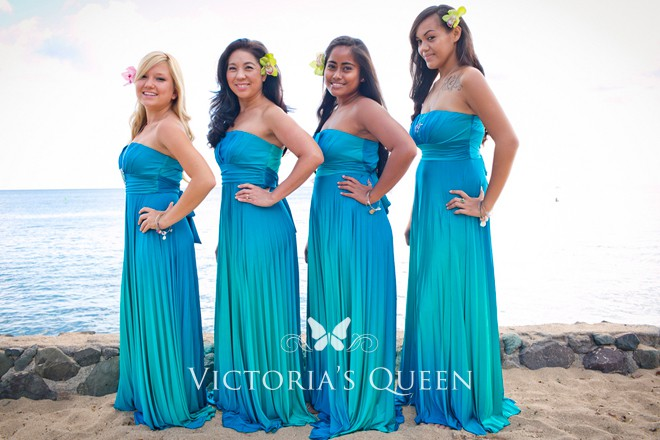 Ocean Blue Ombre Jersey Beach Long Bridesmaid Dresses Vq