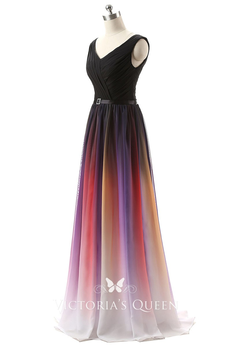 Black To Dark Red Ombre Chiffon V Neck Floor Length A Line