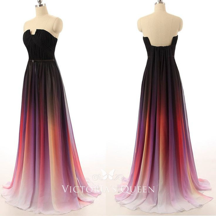 Black To Red Ombre Chiffon Strapless Cutout Floor Length A Line