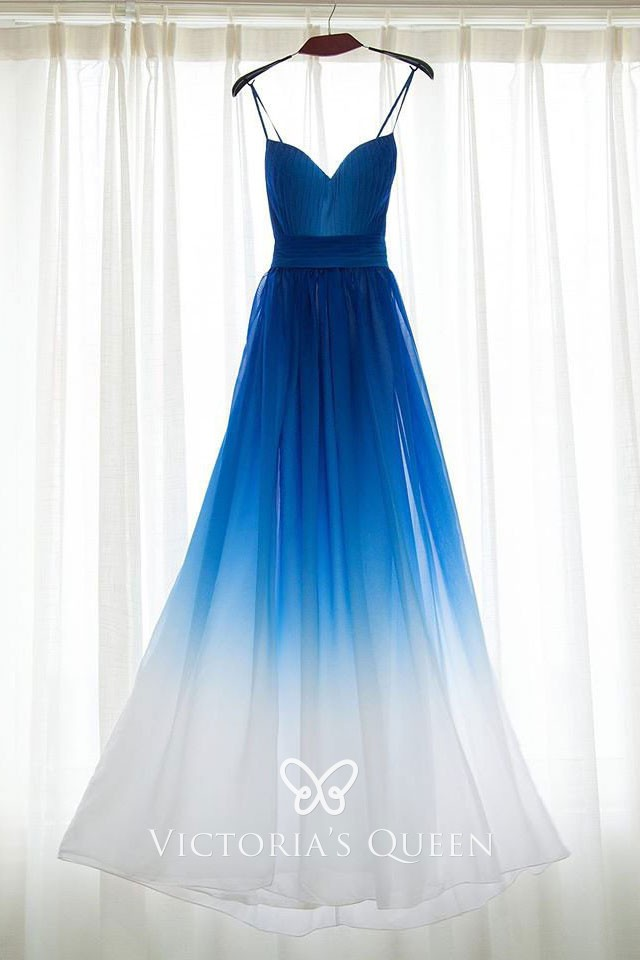 Beautiful Blue To White Ombre Chiffon Bridesmaid Dress