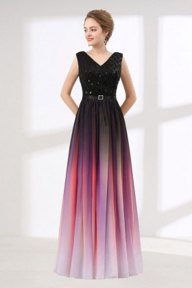 Stunning black to red ombre sequin and chiffon V neck A line long  bridesmaid dress 3cfbe954000a
