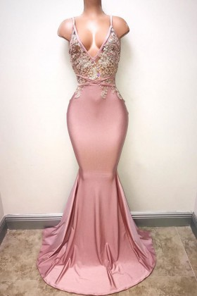 3f97f17ac Amazing beaded rosy pink lace and satin deep V neck mermaid long prom dress