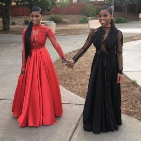 73bf4b7bdc9 vintage illusion lace bodice long sleeve and modern satin black red prom  dresses