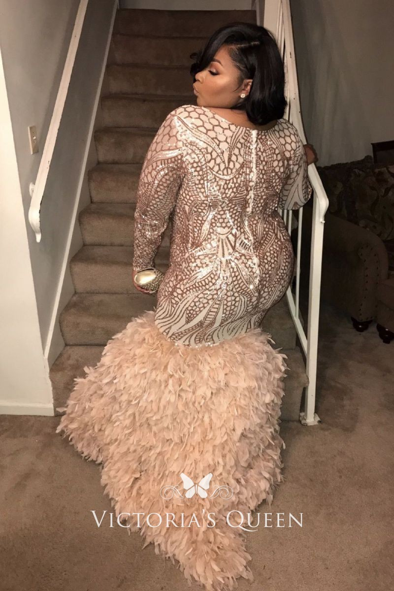 Rose Gold Geometric Sequin Long Sleeves Feathers Trumpet Long Plus Size  Prom Gown