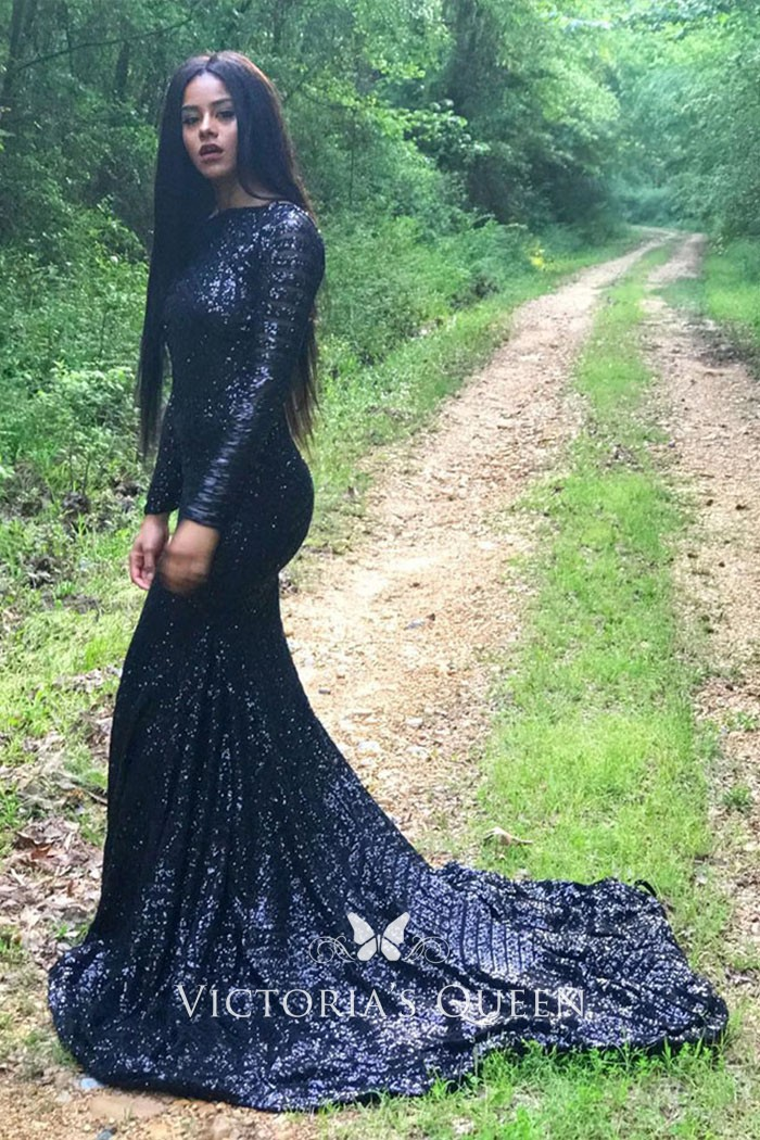 9b47958ef9f2 black sequin long sleeve crew neck demure mermaid chapel train prom gown
