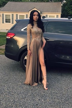 869deab6665 lace appliqued jersey high neck long sleeves thigh high slit long prom dress