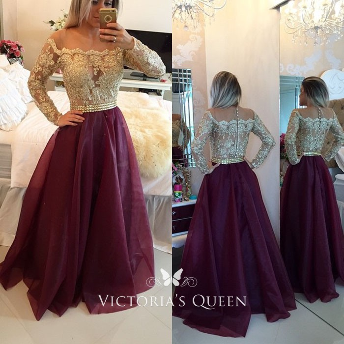 Gold Lace And Burgundy Organza Long Sleeve Prom Gown