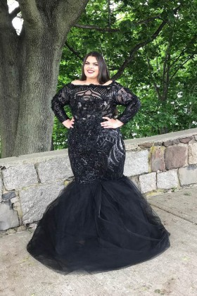 plus size black sequin and tulle long sleeve off the shoulder trumpet prom  dress 33ad0dfd614a