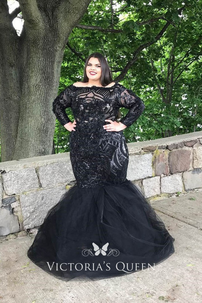 Plus Size Black Sequin and Tulle Trumpet Prom Dress