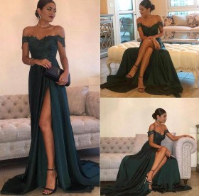 5f5b35d0ba Dark green chiffon and lace elegant yet sexy off the shoulder thigh high  slit evening prom