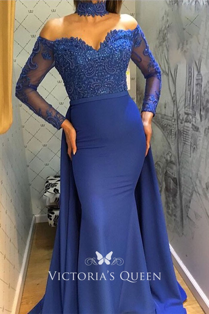 enjoy big discount promo codes compare price Royal Blue Curved Off-the-shoulder Long Sleeve Mermaid Prom Gown with  Overskirt