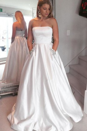 e1a8548780 Strapless pure white satin floor length prom ball gown with beaded side  pockets