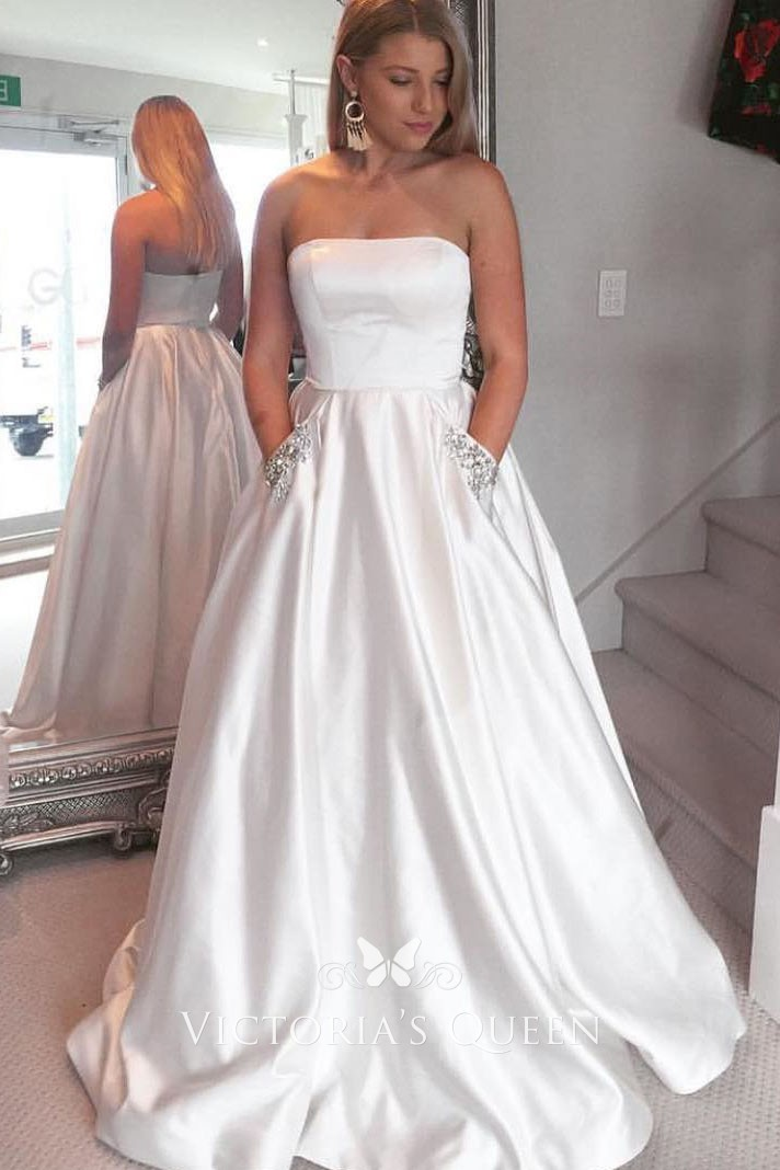 Strapless Pure White Satin Floor Length Prom Ball Gown