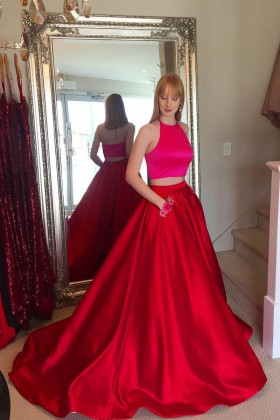 e9a82495e7c6 chic fuchsia and red two piece satin prom ball gown with flowers pockets