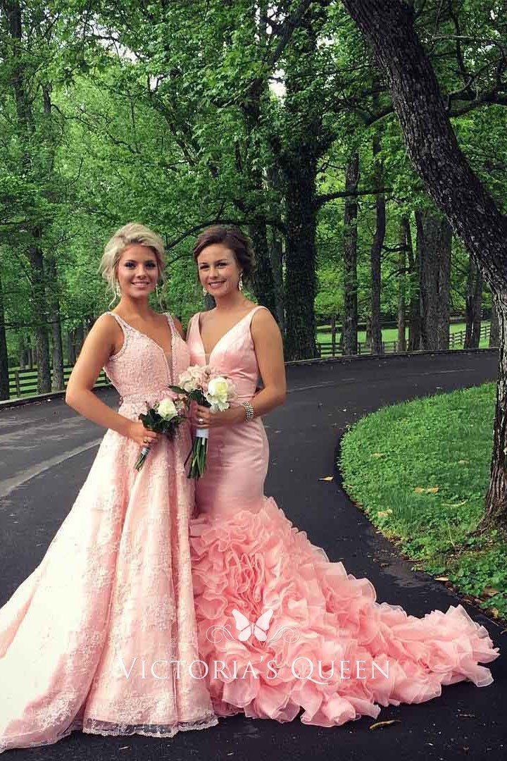 e1cb68687 ... sleeveless V neck prom gown. Baby pink satin timeless mermaid cascading  ruffled prom gown