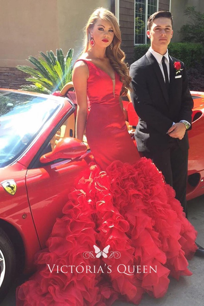 f69ad3687 red satin timeless mermaid cascading ruffled sleeveless V neck prom gown. Baby  pink satin timeless mermaid ...