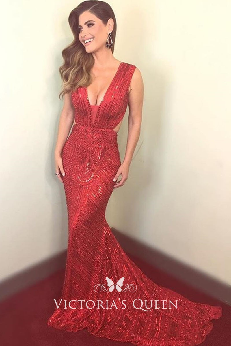 ef3da428d73e breath taking red sequin plunging V neck mermaid sweep train prom dress