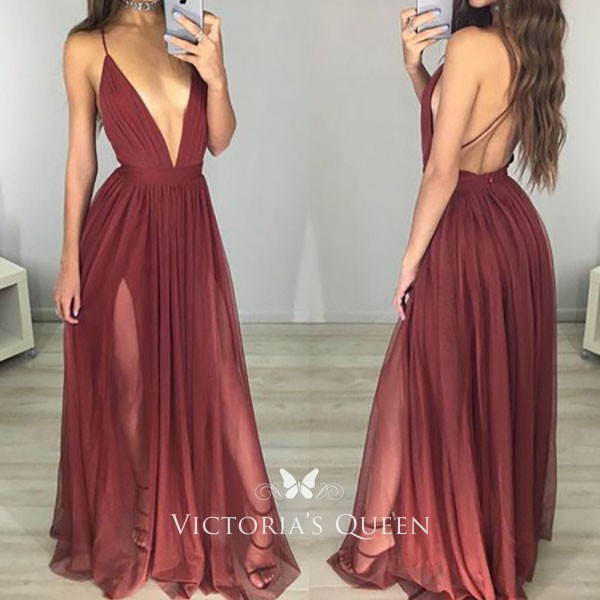 8959bc692aa848 Plunging V neck open back spaghetti straps double slit burgundy tulle sexy  prom gown