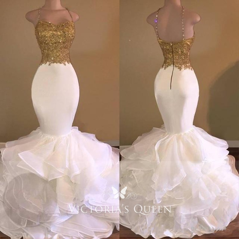 e97959f4a121f dazzling gold appliqued top with white layered mermaid organza skirt prom  gown