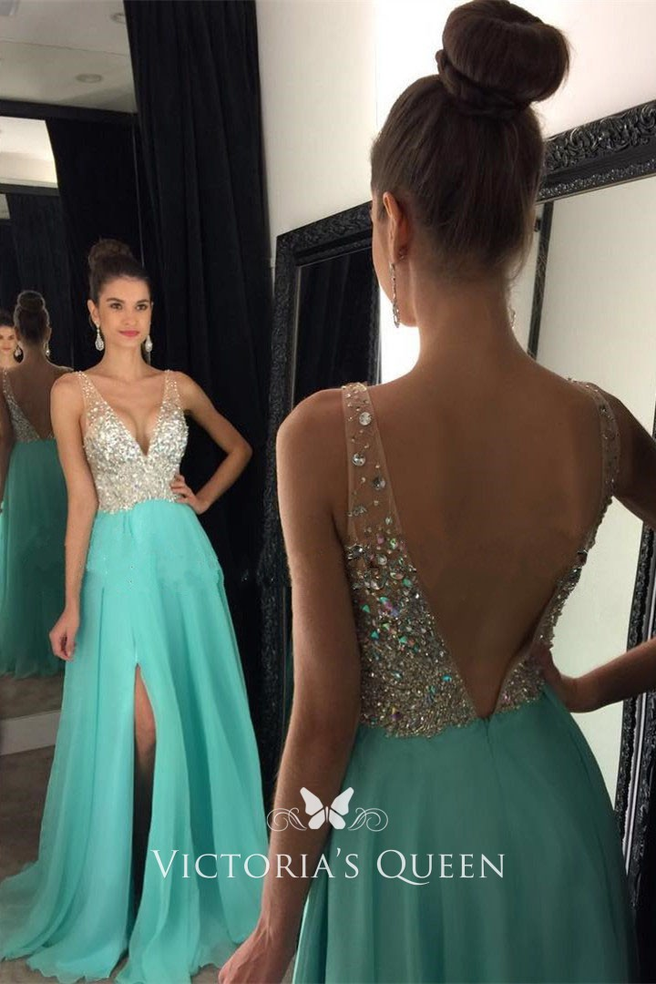 beaded turquoise chiffon fashion plunging neckline thigh high slit prom  dress 659be3afbfc7