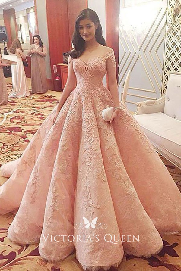 Floral Lace Appliqued Peach Pink Off-the-shoulder Bridal Ball Gown ... 4aa2b37a2