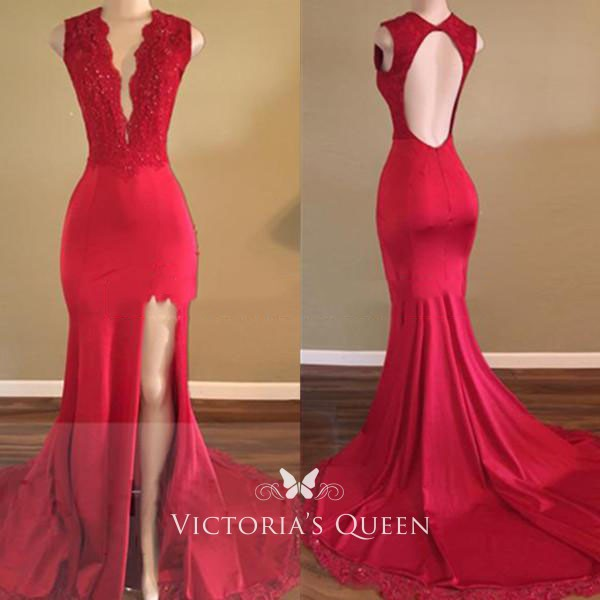 c2e97b978642 Red scalloped lace plunging V neckline mermaid thigh high slit long prom  dress