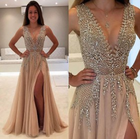 Charming beading plunging neckline and champagne tulle thigh high slit prom  dress 87230b1bae6a