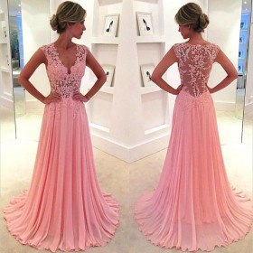 Floral illusion pink lace and chiffon modest floor length A line prom dress