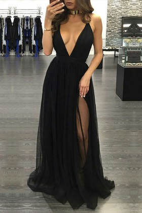 29532a3a99436 Sexy black tulle plunging V neckline thigh high slit prom dress with  spaghetti straps