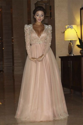 e3a7c03217 Sparkling crystals beaded blushing pink deep V neck long sleeve prom dress