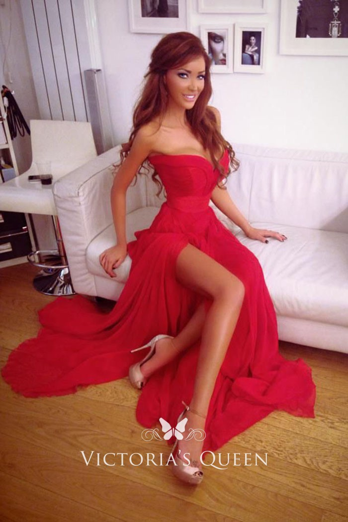 e93fa85cd0ad Very sexy red strapless sweetheart long prom dress with thigh high slit