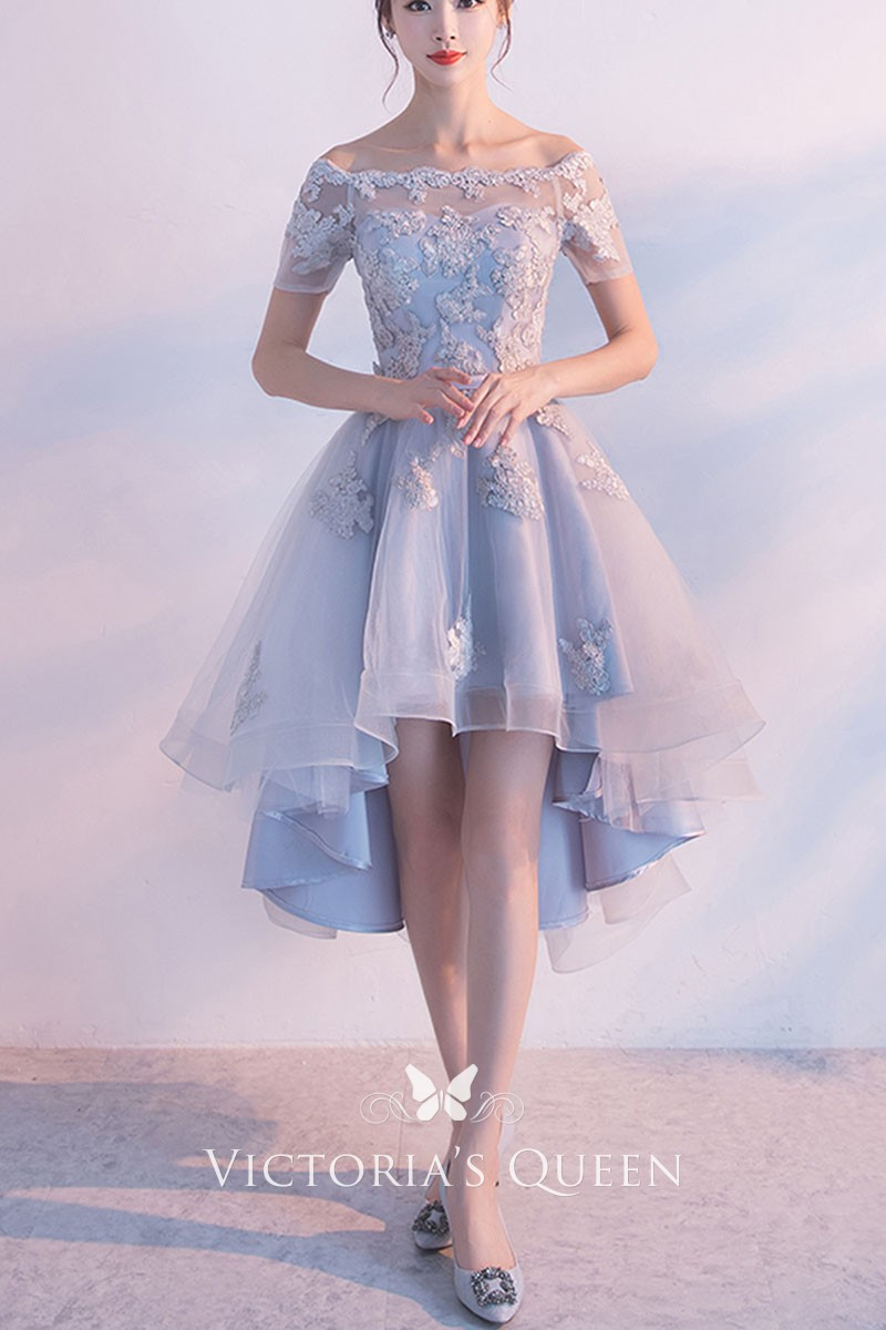 7a0c2c5dd4 Light blue off the shoulder lace appliqued short sleeve high low homecoming  dress