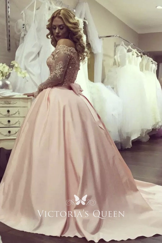 Beaded Blush Lace And Satin Off The
