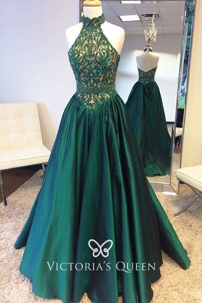 Satin Basque Waist Green Prom Dress