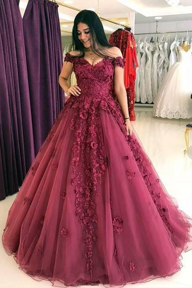 Flowers Appliqued Magenta Off The Shoulder Ball Gown Vq
