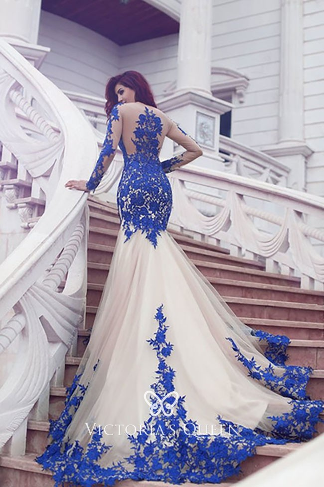 2ef722090218f Gorgeous Blue Lace Appliqued Body-hugging Mermaid Long Pageant Prom Dress