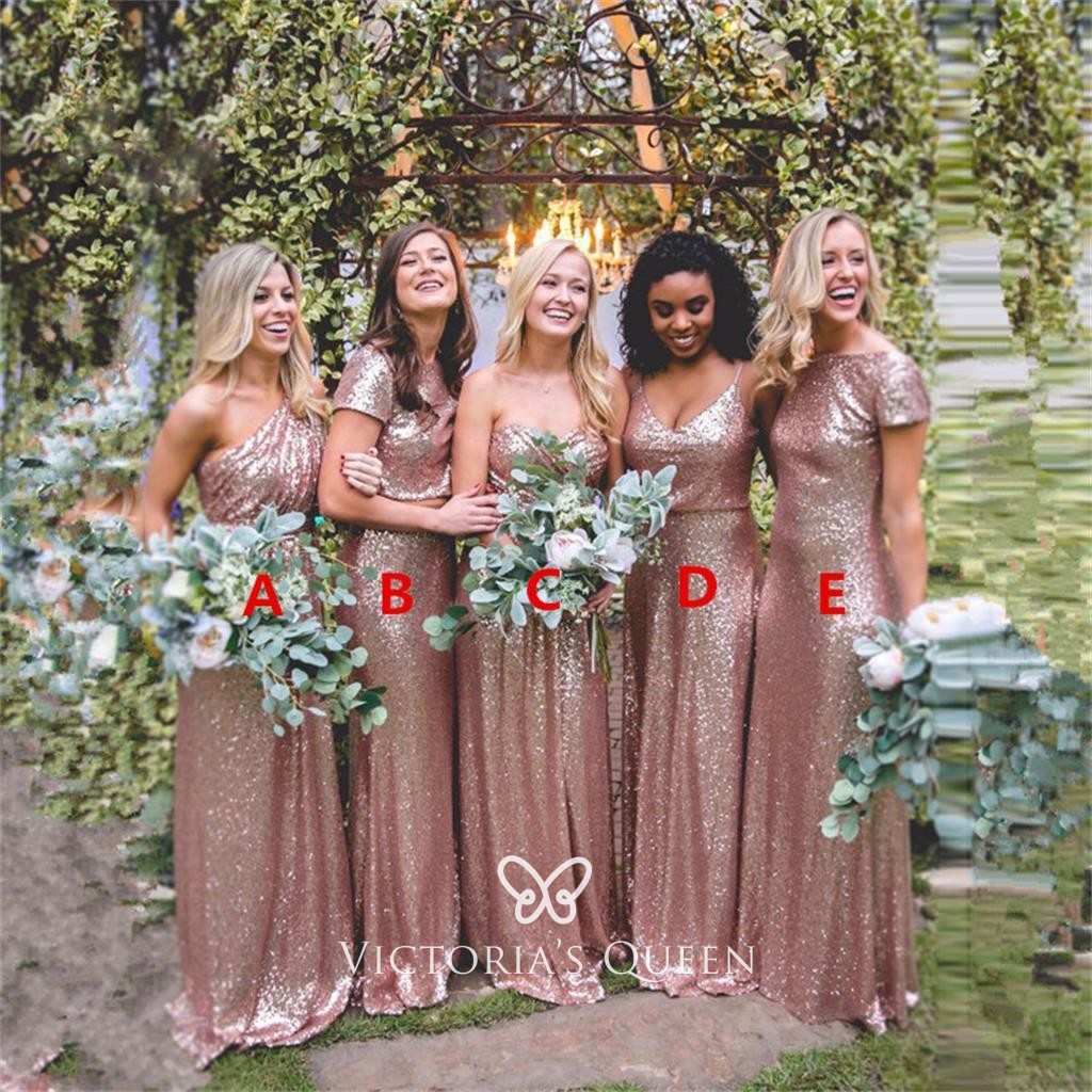 Rose Gold Sequin Long Mismatched Bridesmaid Dresses Vq