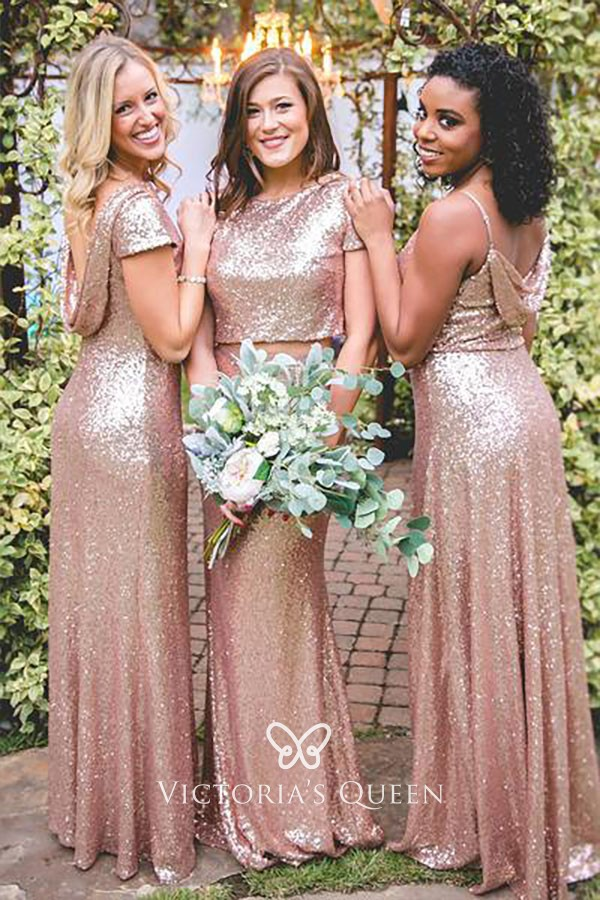 Rose Gold Sequin Long Mismatched Bridesmaid Dresses