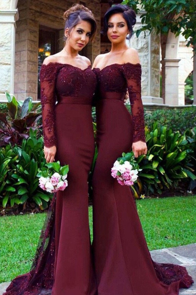 Maroon Lace And Spandex Long Sleeve Bridesmaid Dresses Vq,Summer Outdoor Wedding Summer Casual Wedding Dresses