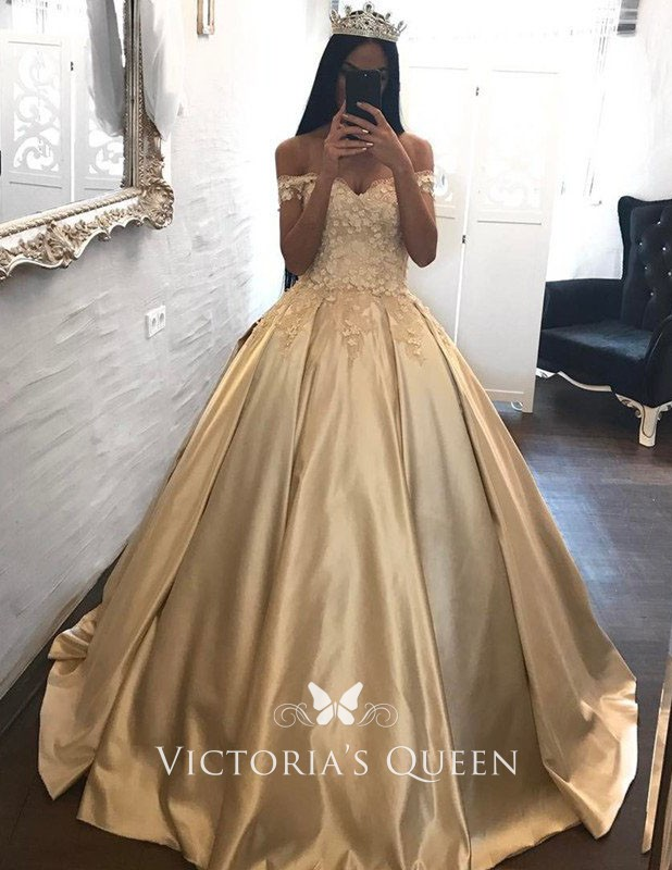 Appliqued Off The Shoulder Champagne Satin Ball Gown Vq