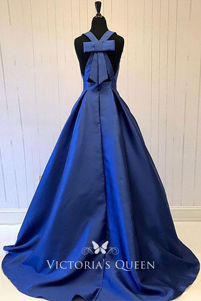 Sleeveless Navy Blue Satin Plunging V Neck Ball Gown
